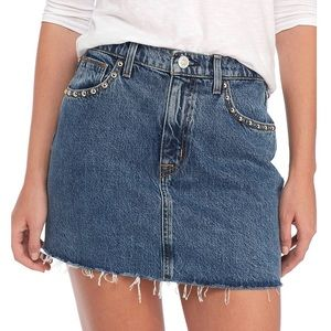 Studded Denim Mini Skirt Hudson
